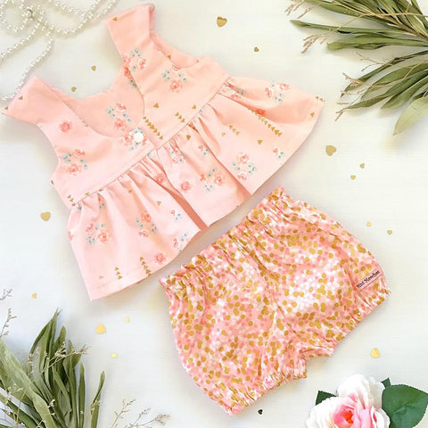 Pink & Gold Tea Party Top & Shorts Set