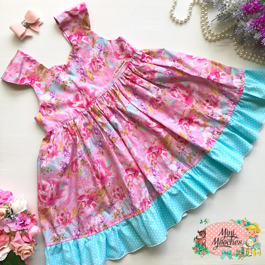 Butterfly Garden Pink Roses Tea Party Dress