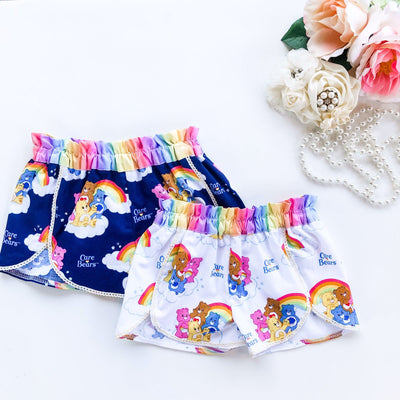 'Tulip' Style Shorts - Care Bears - Mini Mooches is an Australian owned business specialising in handmade clothing and accessories for girls aged between 1-10. Beautifully designed Floral Dresses, Peplum Tops, Suspender skirts and shorts. Special occasions to everyday wear.
