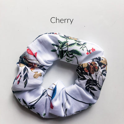 Scrunchies - Cherry - Mini Mooches is an Australian owned business specialising in handmade clothing and accessories for girls aged between 1-10. Beautifully designed Floral Dresses, Peplum Tops, Suspender skirts and shorts. Special occasions to everyday wear.