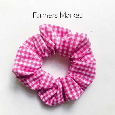 Scrunchies - Farmers Market - Mini Mooches is an Australian owned business specialising in handmade clothing and accessories for girls aged between 1-10. Beautifully designed Floral Dresses, Peplum Tops, Suspender skirts and shorts. Special occasions to everyday wear.