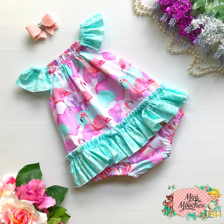 Flamingo Hearts Seaside Romper - Pre Order
