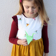 Handmade in Australia, girls dress, Mustard. In sizes 0-8. Afterpay available.