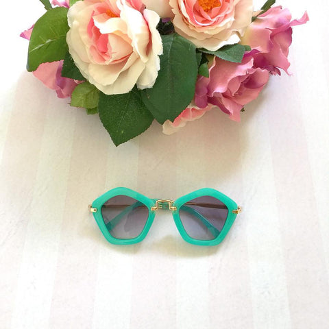 Mini Mooches Pentagon Sunnies in Aqua