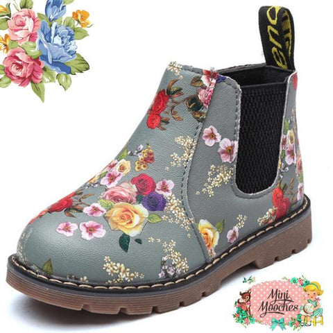 Green Floral Winter Boots