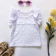 Flutter Tee - Pearl - Mini Mooches is an Australian owned business specialising in handmade clothing and accessories for girls aged between 1-10. Beautifully designed Floral Dresses, Peplum Tops, Suspender skirts and shorts. Special occasions to everyday wear.