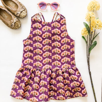 Weekend Dress - Molly - Mini Mooches is an Australian owned business specialising in handmade clothing and accessories for girls aged between 1-10. Beautifully designed Floral Dresses, Peplum Tops, Suspender skirts and shorts. Special occasions to everyday wear.