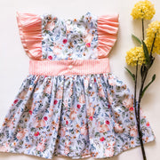 Elle Pinafore Dress - Mini Mooches is an Australian owned business specialising in handmade clothing and accessories for girls aged between 1-10. Beautifully designed Floral Dresses, Peplum Tops, Suspender skirts and shorts. Special occasions to everyday wear.