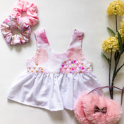 Peplum Top -Scarlet - Mini Mooches is an Australian owned business specialising in handmade clothing and accessories for girls aged between 1-10. Beautifully designed Floral Dresses, Peplum Tops, Suspender skirts and shorts. Special occasions to everyday wear.