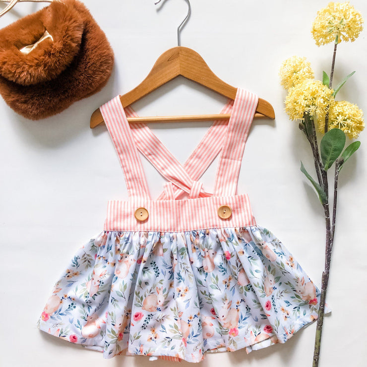 Suspender Skirt - Libby - Mini Mooches is an Australian owned business specialising in handmade clothing and accessories for girls aged between 1-10. Beautifully designed Floral Dresses, Peplum Tops, Suspender skirts and shorts. Special occasions to everyday wear.