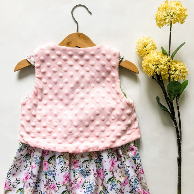 Minky Vest - Poppy - Mini Mooches is an Australian owned business specialising in handmade clothing and accessories for girls aged between 1-10. Beautifully designed Floral Dresses, Peplum Tops, Suspender skirts and shorts. Special occasions to everyday wear.