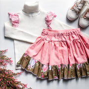 Zoey Twirly Skirt - Mini Mooches is an Australian owned business specialising in handmade clothing and accessories for girls aged between 1-10. Beautifully designed Floral Dresses, Peplum Tops, Suspender skirts and shorts. Special occasions to everyday wear.