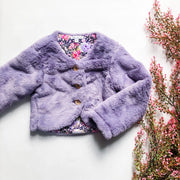 Ravina Fur Jacket - Mini Mooches is an Australian owned business specialising in handmade clothing and accessories for girls aged between 1-10. Beautifully designed Floral Dresses, Peplum Tops, Suspender skirts and shorts. Special occasions to everyday wear.
