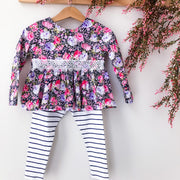 Peplum Top & Tights - Tilly - Mini Mooches is an Australian owned business specialising in handmade clothing and accessories for girls aged between 1-10. Beautifully designed Floral Dresses, Peplum Tops, Suspender skirts and shorts. Special occasions to everyday wear.