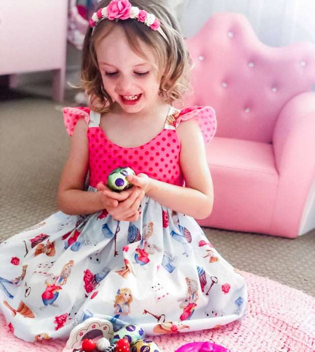 Hummingbird Dress - Alice - Mini Mooches is an Australian owned business specialising in handmade clothing and accessories for girls aged between 1-10. Beautifully designed Floral Dresses, Peplum Tops, Suspender skirts and shorts. Special occasions to everyday wear.