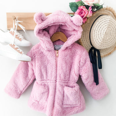 Fur Jacket - Kitty - Mini Mooches is an Australian owned business specialising in handmade clothing and accessories for girls aged between 1-10. Beautifully designed Floral Dresses, Peplum Tops, Suspender skirts and shorts. Special occasions to everyday wear.