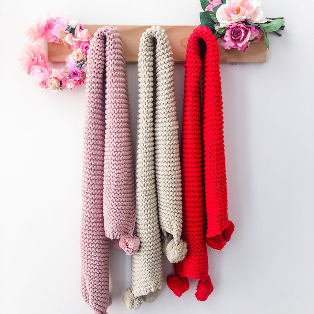 Mini Scarf - Knit - Mini Mooches is an Australian owned business specialising in handmade clothing and accessories for girls aged between 1-10. Beautifully designed Floral Dresses, Peplum Tops, Suspender skirts and shorts. Special occasions to everyday wear.