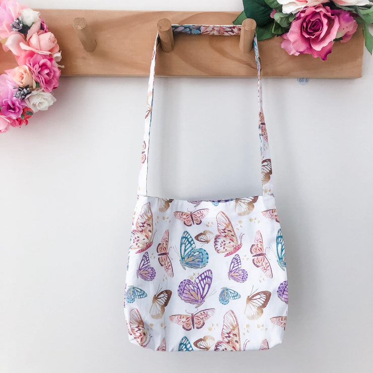 Mini Tote Bag - Butterflies - Mini Mooches is an Australian owned business specialising in handmade clothing and accessories for girls aged between 1-10. Beautifully designed Floral Dresses, Peplum Tops, Suspender skirts and shorts. Special occasions to everyday wear.