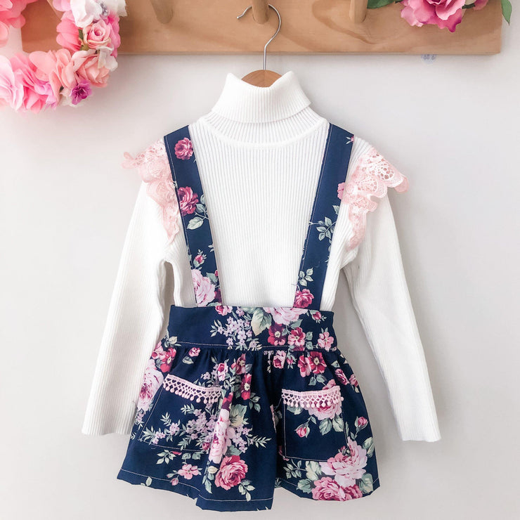 Suspender Skirt - Madison - Mini Mooches is an Australian owned business specialising in handmade clothing and accessories for girls aged between 1-10. Beautifully designed Floral Dresses, Peplum Tops, Suspender skirts and shorts. Special occasions to everyday wear.