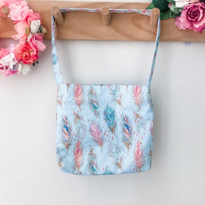 Mini Tote Bag - Feathers - Mini Mooches is an Australian owned business specialising in handmade clothing and accessories for girls aged between 1-10. Beautifully designed Floral Dresses, Peplum Tops, Suspender skirts and shorts. Special occasions to everyday wear.
