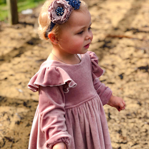 Tea Dress - Cord  Pink - Mini Mooches is an Australian owned business specialising in handmade clothing and accessories for girls aged between 1-10. Beautifully designed Floral Dresses, Peplum Tops, Suspender skirts and shorts. Special occasions to everyday wear.