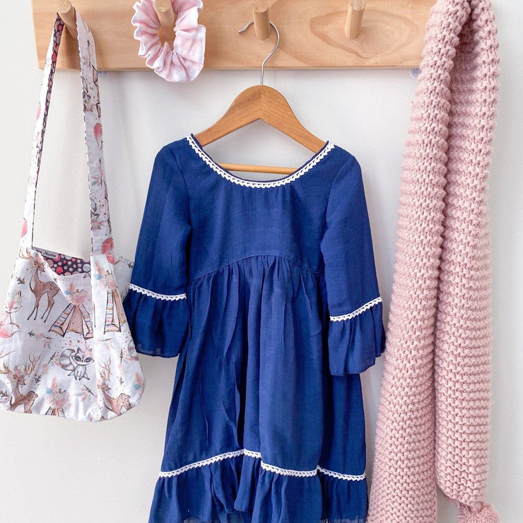 Boho Dress - August - Mini Mooches is an Australian owned business specialising in handmade clothing and accessories for girls aged between 1-10. Beautifully designed Floral Dresses, Peplum Tops, Suspender skirts and shorts. Special occasions to everyday wear.