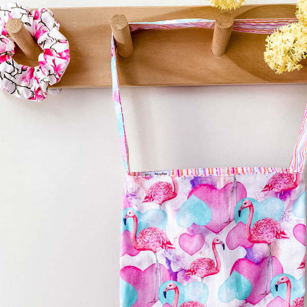 Mini Tote Bag - Flamingo - Mini Mooches is an Australian owned business specialising in handmade clothing and accessories for girls aged between 1-10. Beautifully designed Floral Dresses, Peplum Tops, Suspender skirts and shorts. Special occasions to everyday wear.