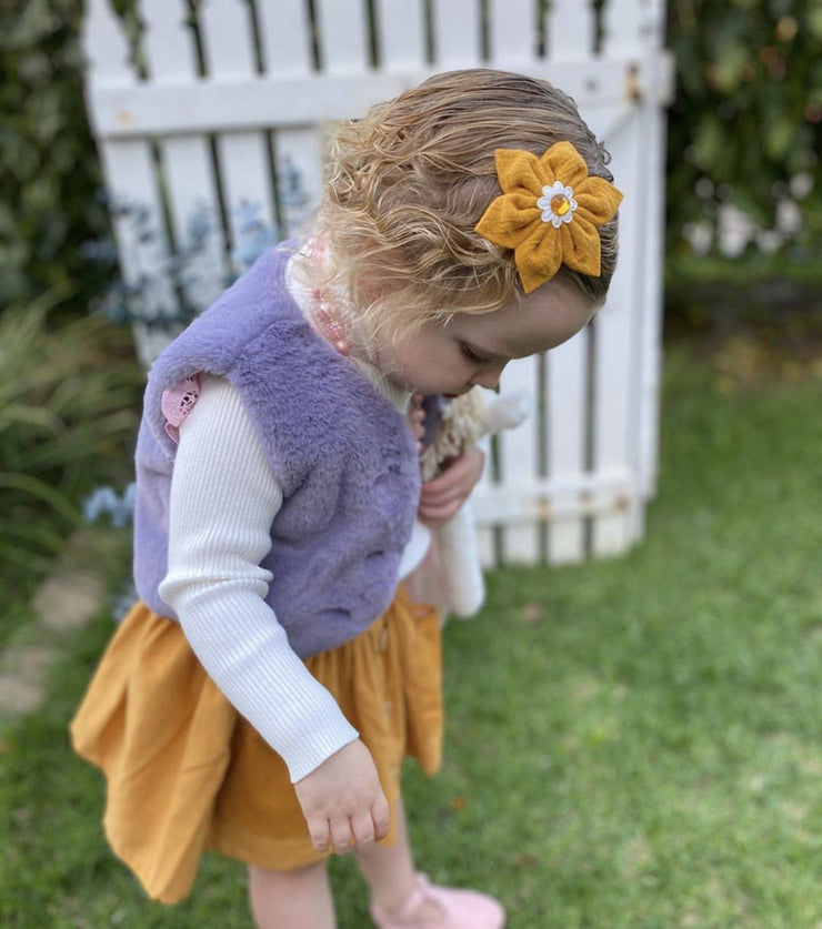 Fur Vest - Ravina - Mini Mooches is an Australian owned business specialising in handmade clothing and accessories for girls aged between 1-10. Beautifully designed Floral Dresses, Peplum Tops, Suspender skirts and shorts. Special occasions to everyday wear.