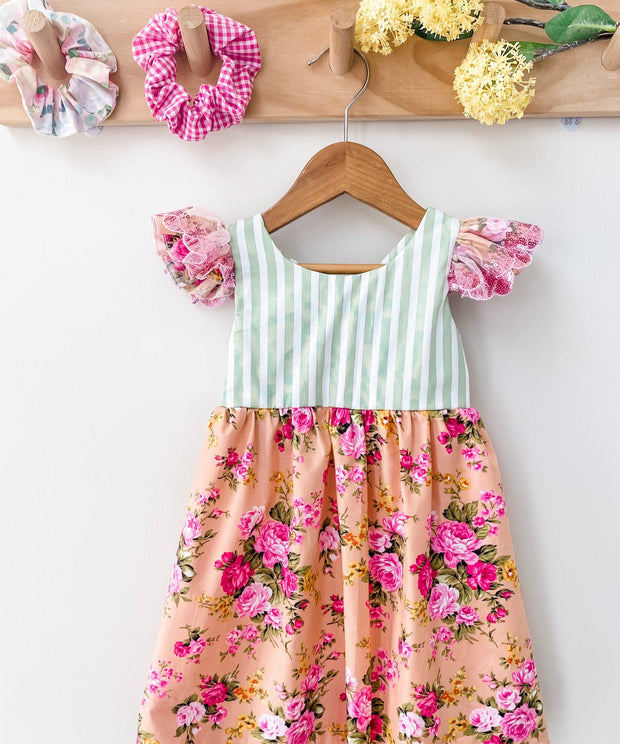 dress, floral, sequins, girls, handmade, ivy style, spring dress, after pay available