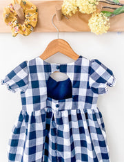 gingham, dress, handmade, pockets, black and white , girls