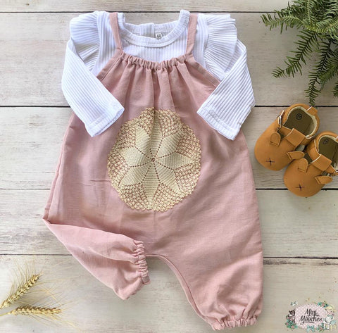 Pink Linen Jumpsuit with doily