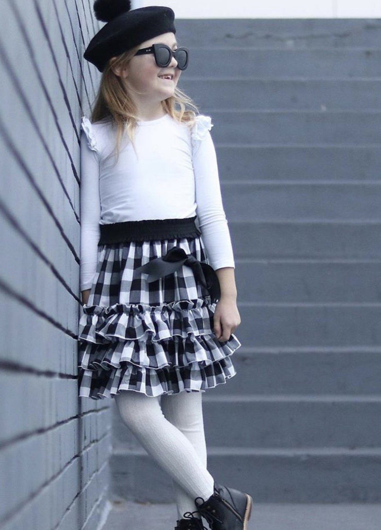 Girls ruffle gingham skirt, sizes 1-8 handmade in Australia. Afterpay available.
