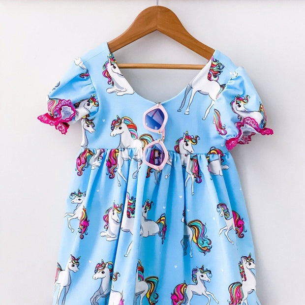 Bottom spandex stretch girls dress. Sizes 0-8, handmade with unicorns. Afterpay available
