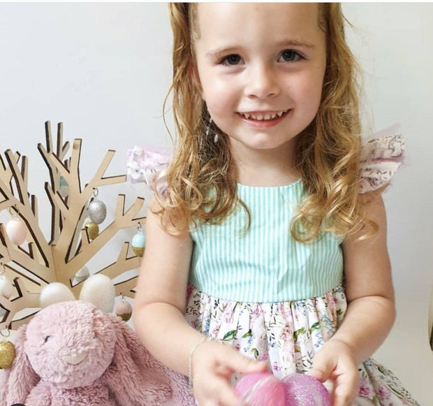 Ivy Dress - Alexandria - Mini Mooches is an Australian owned business specialising in handmade clothing and accessories for girls aged between 1-10. Beautifully designed Floral Dresses, Peplum Tops, Suspender skirts and shorts. Special occasions to everyday wear.
