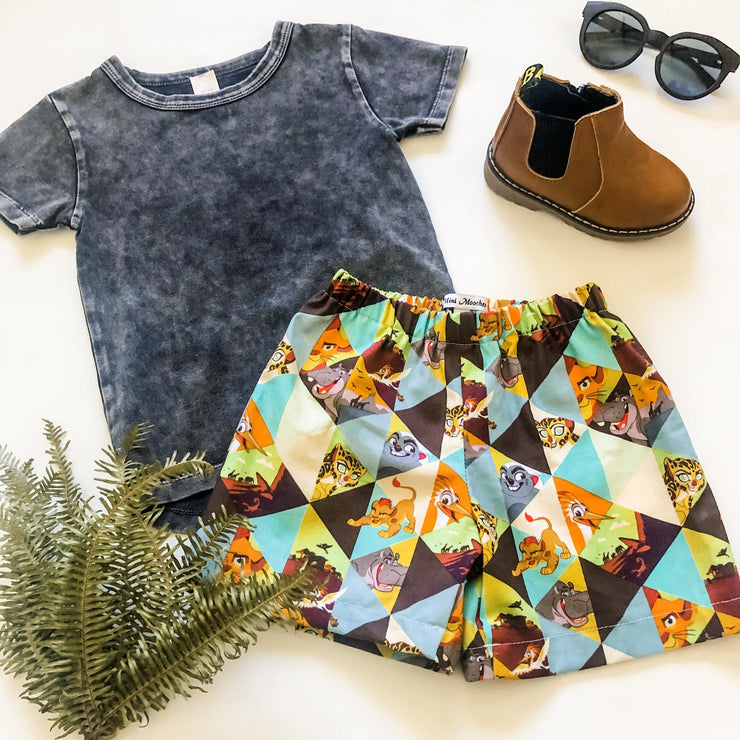 Boys Shorts - Simba - Mini Mooches is an Australian owned business specialising in handmade clothing and accessories for girls aged between 1-10. Beautifully designed Floral Dresses, Peplum Tops, Suspender skirts and shorts. Special occasions to everyday wear.