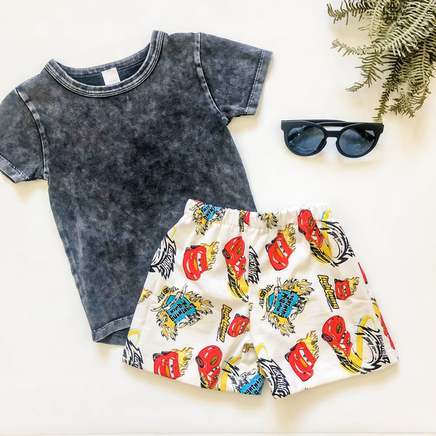Boys Shorts - Lightening - Mini Mooches is an Australian owned business specialising in handmade clothing and accessories for girls aged between 1-10. Beautifully designed Floral Dresses, Peplum Tops, Suspender skirts and shorts. Special occasions to everyday wear.