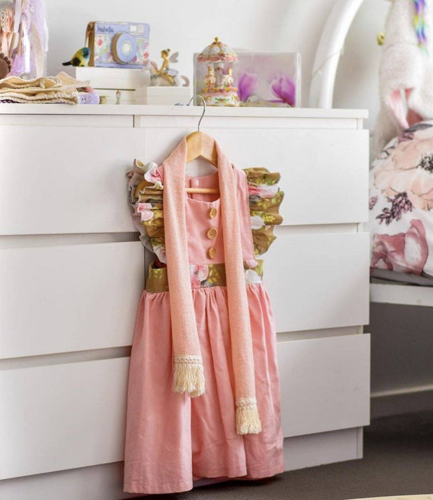 Pinafore Dress - Penny Pink - Mini Mooches is an Australian owned business specialising in handmade clothing and accessories for girls aged between 1-10. Beautifully designed Floral Dresses, Peplum Tops, Suspender skirts and shorts. Special occasions to everyday wear.