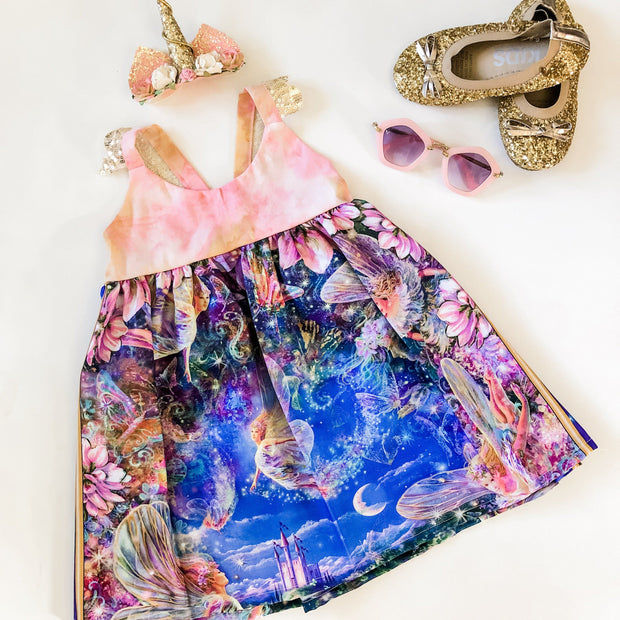 Hummingbird Dress - Mia - Mini Mooches is an Australian owned business specialising in handmade clothing and accessories for girls aged between 1-10. Beautifully designed Floral Dresses, Peplum Tops, Suspender skirts and shorts. Special occasions to everyday wear.