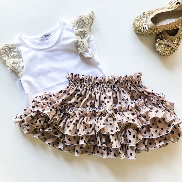 Ruffle Skirt - Izzy - Mini Mooches is an Australian owned business specialising in handmade clothing and accessories for girls aged between 1-10. Beautifully designed Floral Dresses, Peplum Tops, Suspender skirts and shorts. Special occasions to everyday wear.