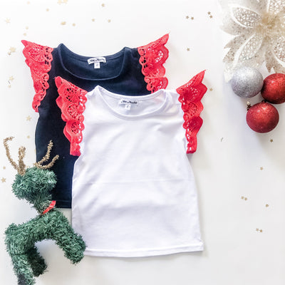 Red Lace Christmas Flutter Singlet