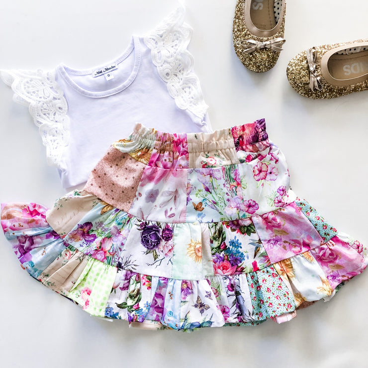 Patchwork Ruffle Skirt