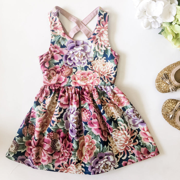 Summer Dress - Daisy - Mini Mooches is an Australian owned business specialising in handmade clothing and accessories for girls aged between 1-10. Beautifully designed Floral Dresses, Peplum Tops, Suspender skirts and shorts. Special occasions to everyday wear.