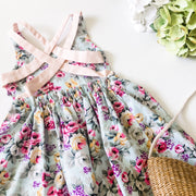 Summer Dress - Violet - Mini Mooches is an Australian owned business specialising in handmade clothing and accessories for girls aged between 1-10. Beautifully designed Floral Dresses, Peplum Tops, Suspender skirts and shorts. Special occasions to everyday wear.