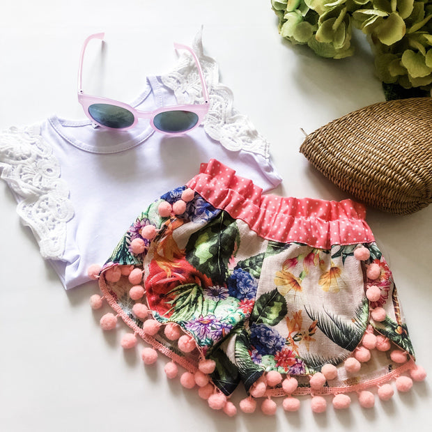 Tulip Shorts - Layla - Mini Mooches is an Australian owned business specialising in handmade clothing and accessories for girls aged between 1-10. Beautifully designed Floral Dresses, Peplum Tops, Suspender skirts and shorts. Special occasions to everyday wear.