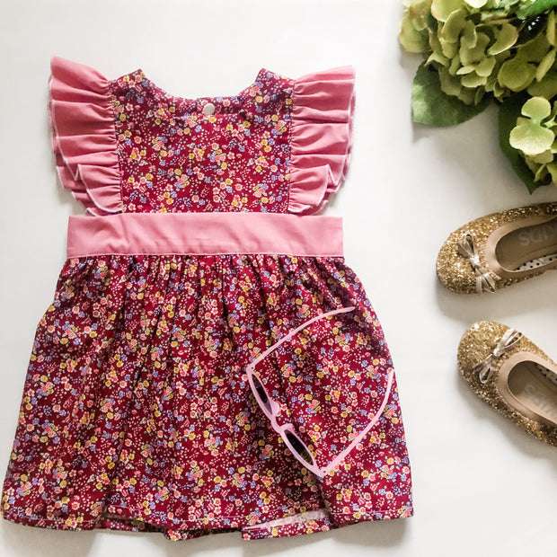 Maddison Polly Dress - Mini Mooches is an Australian owned business specialising in handmade clothing and accessories for girls aged between 1-10. Beautifully designed Floral Dresses, Peplum Tops, Suspender skirts and shorts. Special occasions to everyday wear.