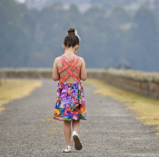 Shari Summer Dress - Mini Mooches is an Australian owned business specialising in handmade clothing and accessories for girls aged between 1-10. Beautifully designed Floral Dresses, Peplum Tops, Suspender skirts and shorts. Special occasions to everyday wear.