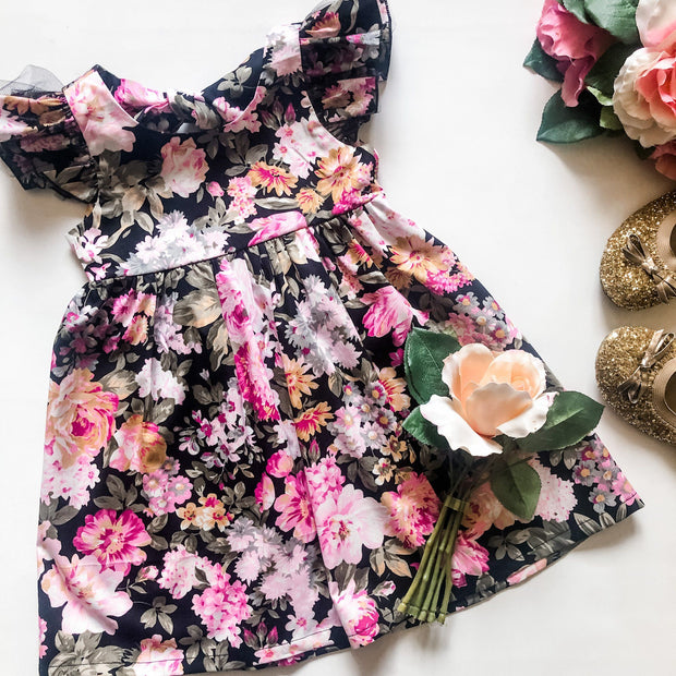Ivy Dress - Bethany - Mini Mooches is an Australian owned business specialising in handmade clothing and accessories for girls aged between 1-10. Beautifully designed Floral Dresses, Peplum Tops, Suspender skirts and shorts. Special occasions to everyday wear.