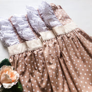 Pinafore Dress - Milly - Mini Mooches is an Australian owned business specialising in handmade clothing and accessories for girls aged between 1-10. Beautifully designed Floral Dresses, Peplum Tops, Suspender skirts and shorts. Special occasions to everyday wear.