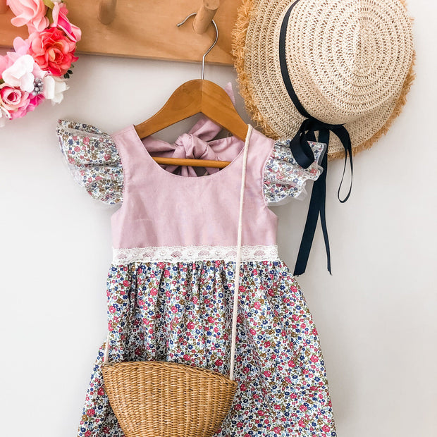 Ivy Dress - Anne - Mini Mooches is an Australian owned business specialising in handmade clothing and accessories for girls aged between 1-10. Beautifully designed Floral Dresses, Peplum Tops, Suspender skirts and shorts. Special occasions to everyday wear.
