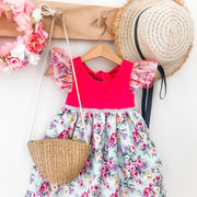 Ivy Dress - Cherry - Mini Mooches is an Australian owned business specialising in handmade clothing and accessories for girls aged between 1-10. Beautifully designed Floral Dresses, Peplum Tops, Suspender skirts and shorts. Special occasions to everyday wear.